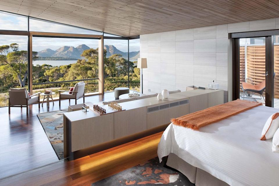 There are only 20 suites at Saffire – the luxury, signature (pictured) and private pavilions. Photo: Supplied/ Saffire