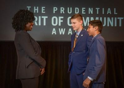 Award-winning actress Viola Davis congratulates Nicholas Wesoloskie, 14, of Coventry (center) and Anishka Perera, 13, of Torrington (right) on being named Connecticut's top two youth volunteers for 2019 by The Prudential Spirit of Community Awards. Nicholas and Anishka were honored at a ceremony on Sunday, May 5 at the Smithsonian's National Museum of Natural History, where they each received a $1,000 award.