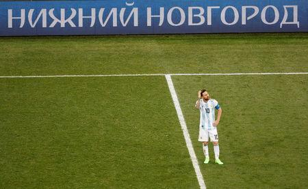 Soccer Football - World Cup - Group D - Argentina vs Croatia - Nizhny Novgorod Stadium, Nizhny Novgorod, Russia - June 21, 2018 Argentina's Lionel Messi reacts after conceding their second goal scored by Croatia's Luka Modric REUTERS/Carlos Barria TPX IMAGES OF THE DAY