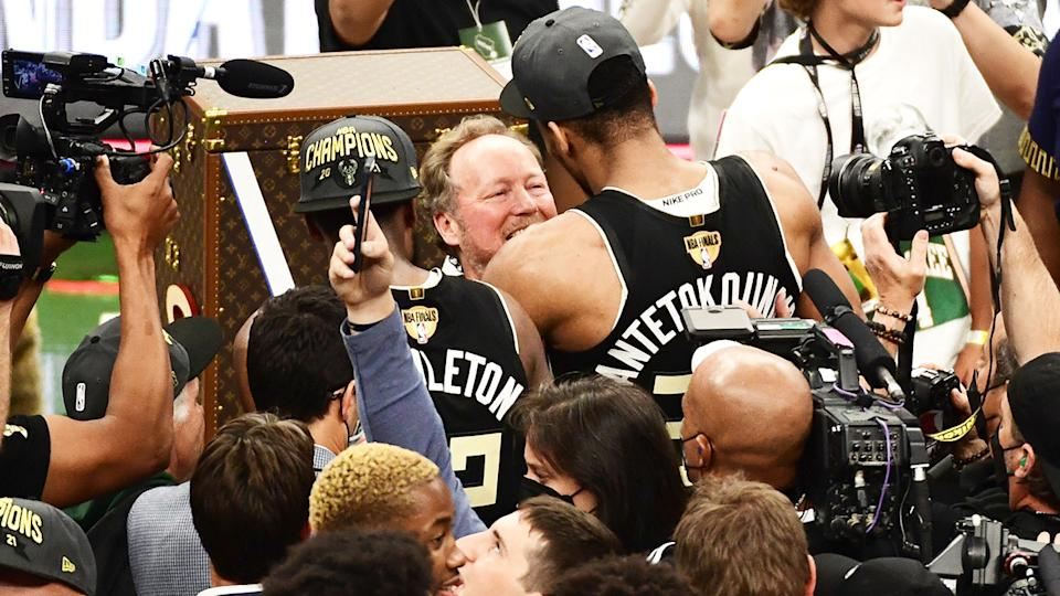 Mike Budenholzer and Giannis Antetokounmpo, pictured here after the Bucks secured their first NBA Championship in 50 years.