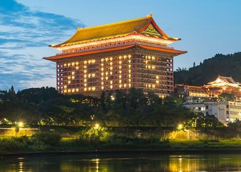 """<span class=""""caption"""">The Grand Hotel Taipei in Taiwan lights up rooms to mark five days with no new COVID-19 cases.</span> <span class=""""attribution""""><a class=""""link rapid-noclick-resp"""" href=""""https://www.shutterstock.com/image-photo/taipei-taiwan-zero-confirmed-cases-covid19-1718941408"""" rel=""""nofollow noopener"""" target=""""_blank"""" data-ylk=""""slk:Ricky kuo/Shutterstock"""">Ricky kuo/Shutterstock</a></span>"""