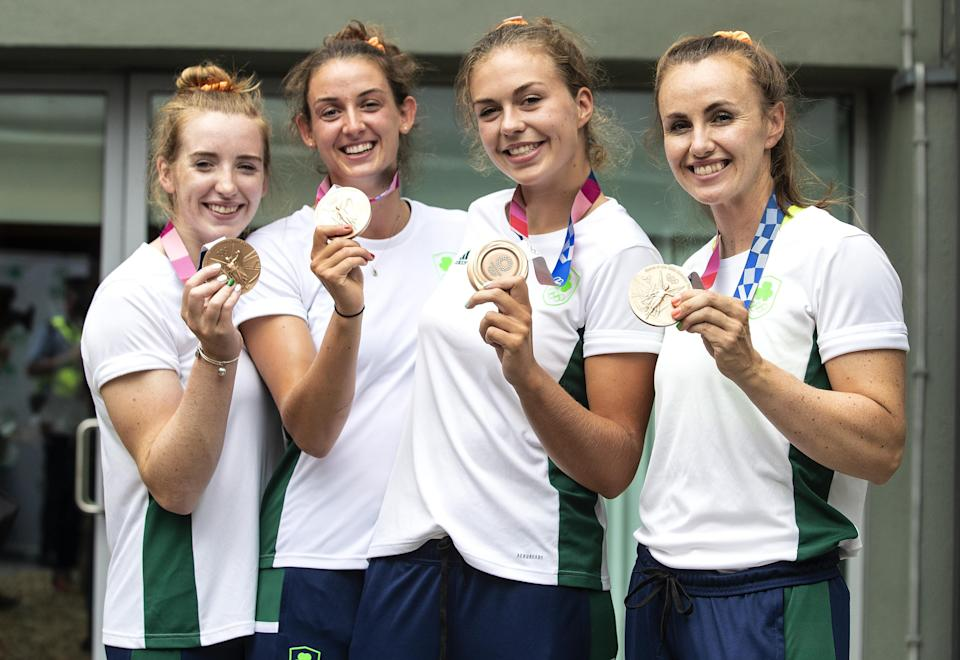 Emily Hegarty, Fiona Murtagh, Eimear Lambe and Aifric Keogh with their bronze medals (Damien Eagers/PA) (PA Wire)