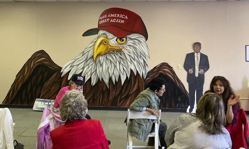 Women who support Trump gather at a campaign meet-up in Canton, Ohio.