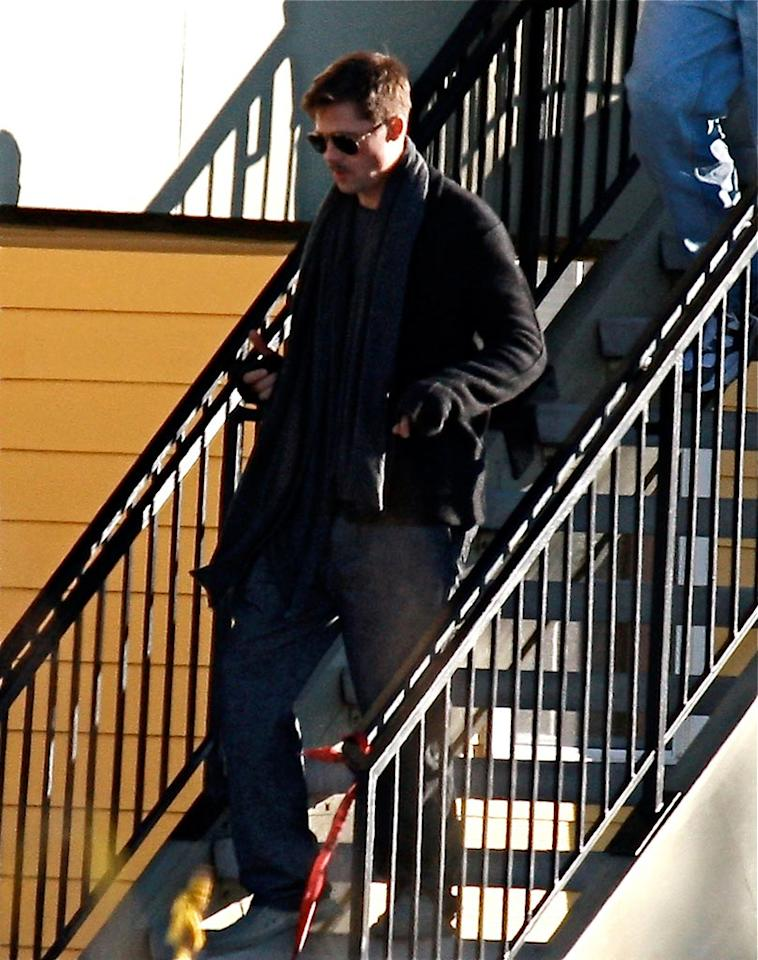"""Brad Pitt visited the New Orleans neighborhood where families are moving into six homes built by his Make It Right charity. DiCuapa/<a href=""""http://www.x17online.com"""" target=""""new"""">X17 Online</a> - December 2, 2008"""