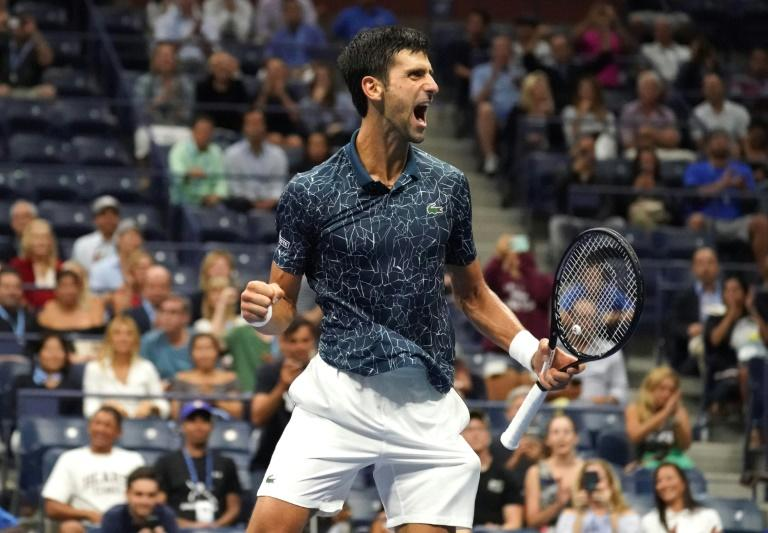 Back in the final: Novak Djokovic reacts after his win against Kei Nishikori