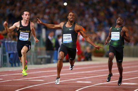 Ronnie Baker of the U.S wins the Men's 100m at the IAAF Diamond League, Golden Gala at Stadio Olimpico in Rome, Italy, May 31, 2018. REUTERS/Tony Gentile