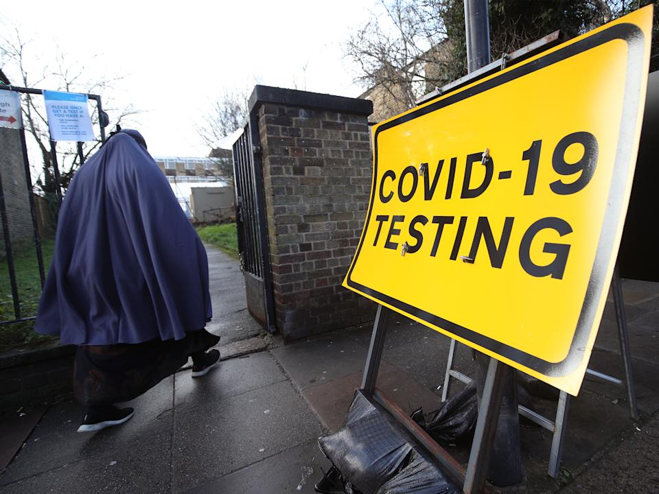 A walk-in coronavirus test centre in Tottenham, north London, during a testing blitz of 80,000 people in England which is aiming to find