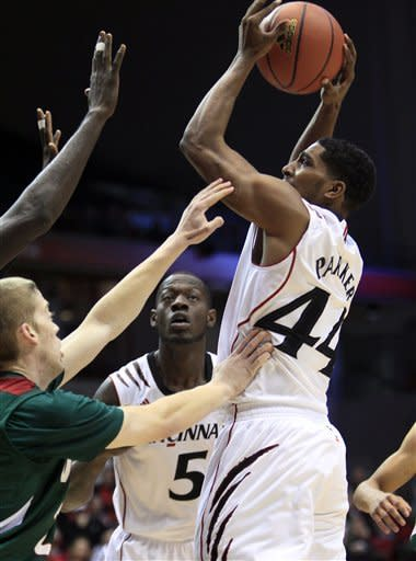Cincinnati guard JaQuon Parker (44) shoots against Mississippi Valley State in the first half of an NCAA college basketball game, Tuesday, Nov. 13, 2012, in Cincinnati. (AP Photo/Al Behrman)