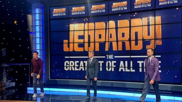 PHOTO: Ken Jennings, Brad Rutter and James Holzhauer pose on the set of 'Jeopardy! The Greatest of All Time.' (ABC News)