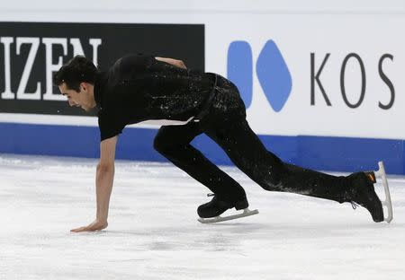 Figure Skating - ISU World Championships 2017 - Men's Free Skating - Helsinki, Finland - 1/4/17 - Javier Fernandez of Spain falls down during the competition. REUTERS/Grigory Dukor