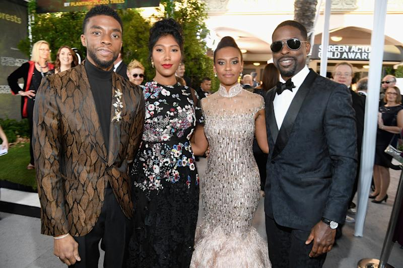 LOS ANGELES, CA - JANUARY 27: (L-R) Chadwick Boseman, Taylor Simone Ledward, Ryan Michelle Bathe, and Sterling K. Brown attend the 25th Annual Screen Actors Guild Awards at The Shrine Auditorium on January 27, 2019 in Los Angeles, California. 480568 (Photo by Kevin Mazur/Getty Images for Turner)
