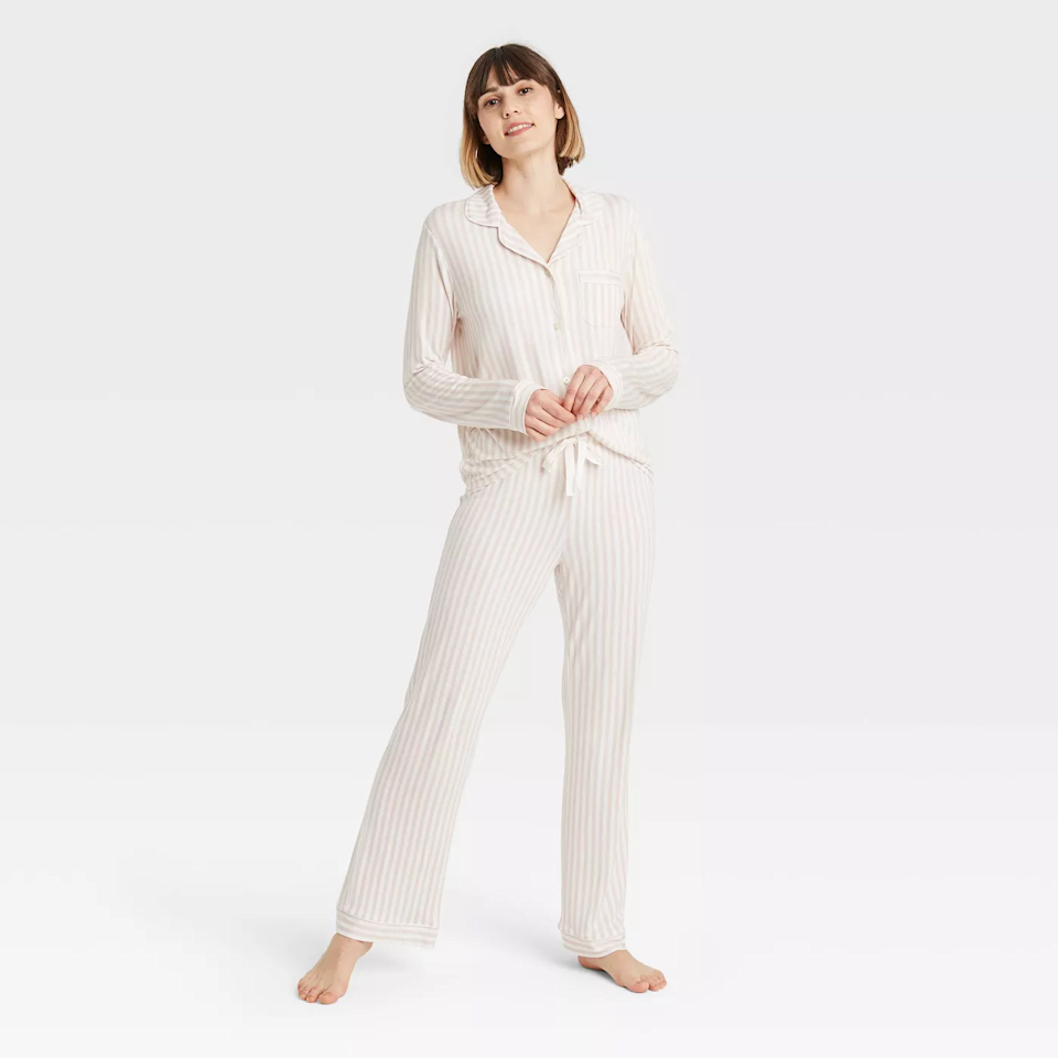 """<br><br><strong>Stars Above</strong> Beautifully Soft Notch Collar Pajama Set, $, available at <a href=""""https://go.skimresources.com/?id=30283X879131&url=https%3A%2F%2Fgoto.target.com%2Fe4EqG1"""" rel=""""nofollow noopener"""" target=""""_blank"""" data-ylk=""""slk:Target"""" class=""""link rapid-noclick-resp"""">Target</a>"""