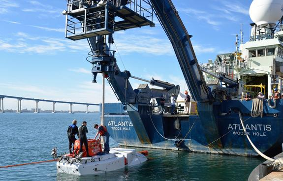 Alvin off the stern of its support vessel R/V Atlantis during sea trials in Nov. 2013 in San Diego, Calif.