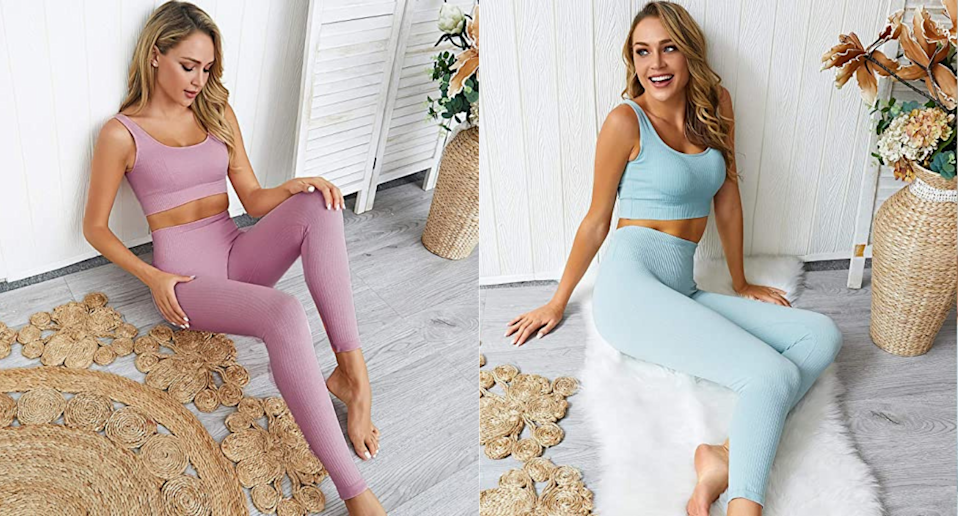Amazon's Jetjoy Ribbed Seamless Yoga Outfit is trending online. Images via Amazon.