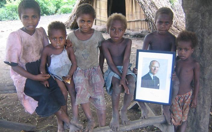 Children in the village of Yaohnanen, one of the villages that held the Duke of Edinburgh in high regard - Nick Squires