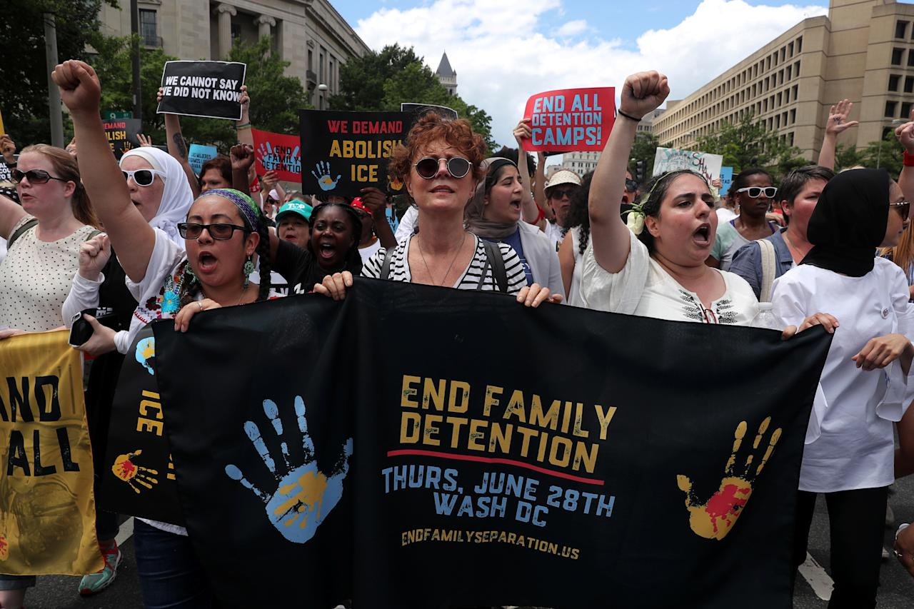 "<p>Actress Susan Sarandan holds a banner as immigration activists rally as part of a march calling for ""an end to family detention"" and in opposition to the immigration policies of the Trump administration, in Washington, D.C., June 28, 2018. (Photo: Jonathan Ernst/Reuters) </p>"