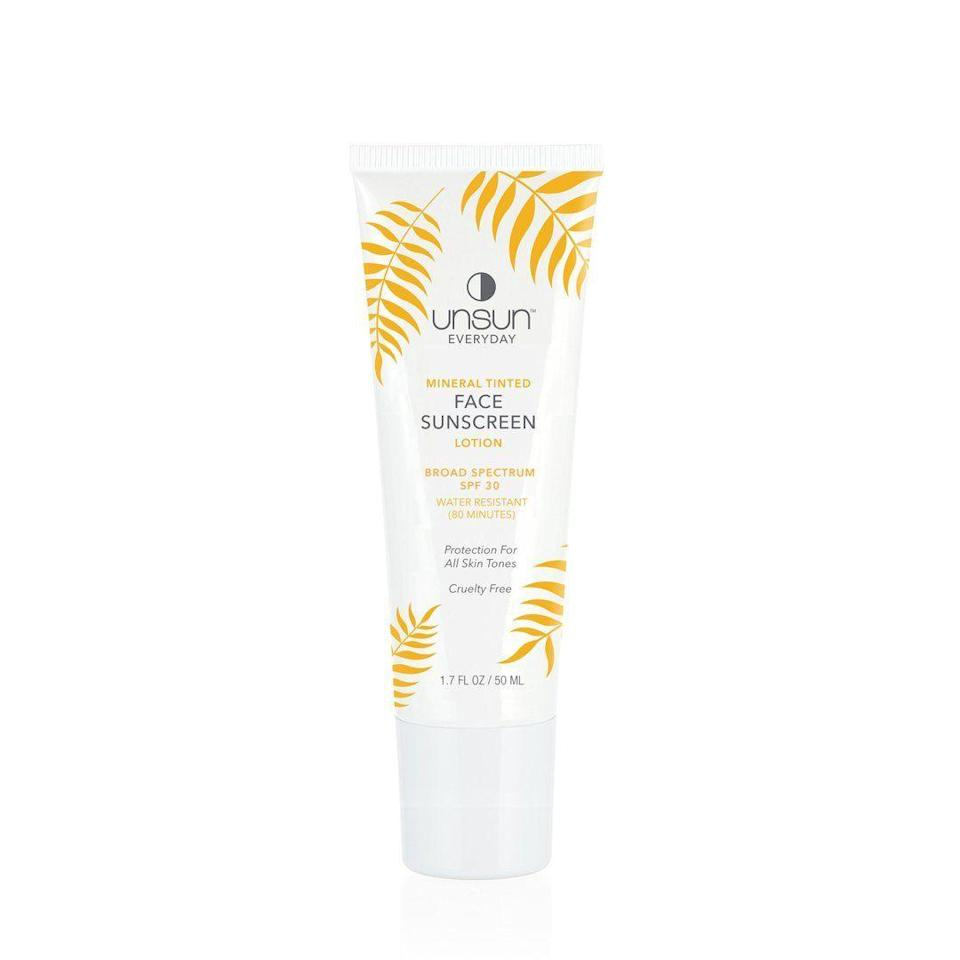 """<p><strong>Unsun Cosmetics</strong></p><p>unsuncosmetics.com</p><p><strong>$15.99</strong></p><p><a href=""""https://www.unsuncosmetics.com/collections/shop/products/everyday-mineral-tinted-face-sunscreen"""" rel=""""nofollow noopener"""" target=""""_blank"""" data-ylk=""""slk:Shop Now"""" class=""""link rapid-noclick-resp"""">Shop Now</a></p><p>Founded by Katonya Breaux, Unsun Cosmetics creates cleanly formulated sunscreen and SPF products that complement women of color—no residue, no leftover white cast. </p>"""