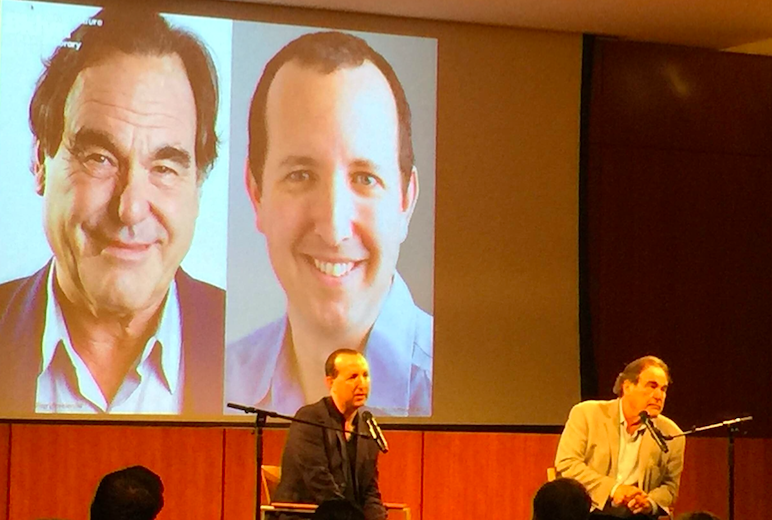 Snowden lawyer Ben Wizner (L) and director Oliver Stone speak at the Brooklyn Public Library on September 11, 2016.
