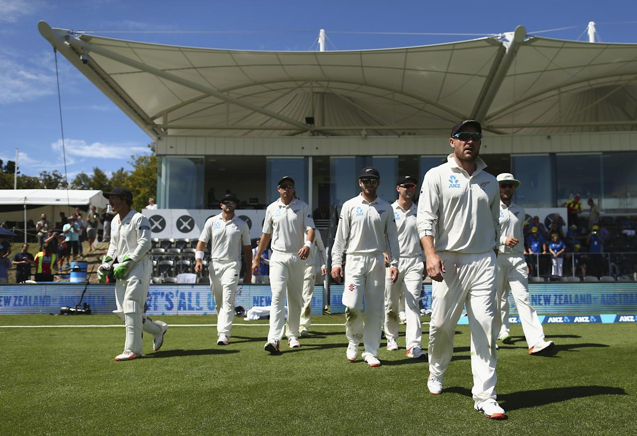 CHRISTCHURCH, NEW ZEALAND - FEBRUARY 24:  Brendon McCullum of New Zealand leads his team out during his final day of test cricket  during day five of the Test match between New Zealand and Australia at Hagley Oval on February 24, 2016 in Christchurch, New Zealand.  (Photo by Ryan Pierse/Getty Images)