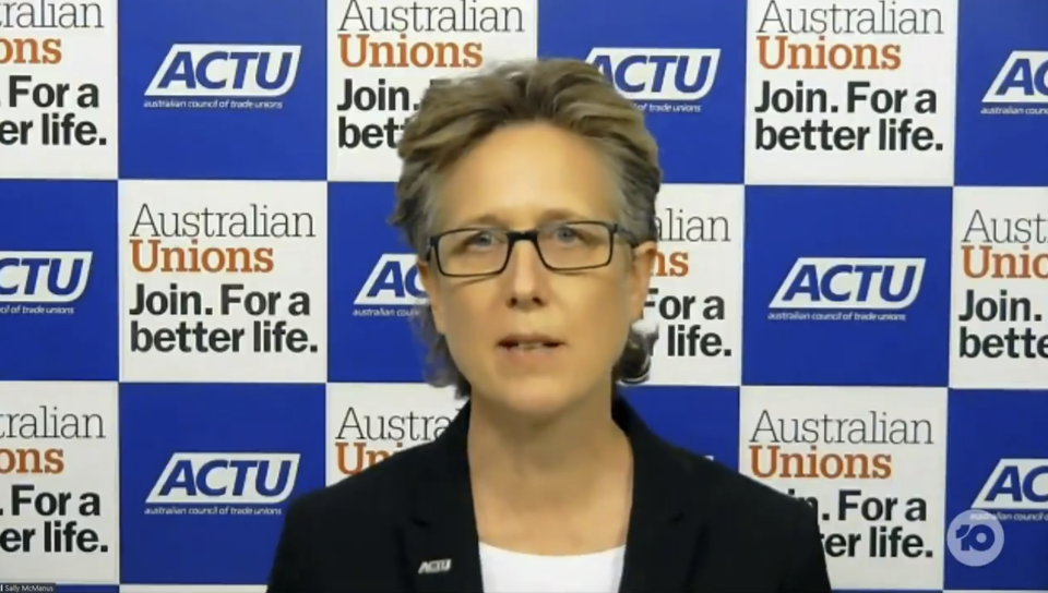 Waleed questioned Australian Council of Trade Unions Secretary Sally McManus whether there was a deeper problem with the construction industry. Photo: Ten