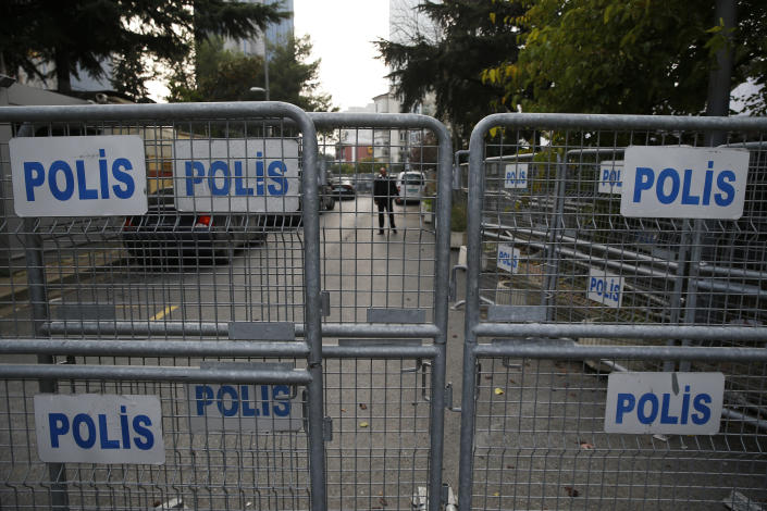 """Barriers block the road leading to Saudi Arabia's consulate in Istanbul, Sunday, Oct. 21, 2018. The chairman of the Senate Foreign Relations Committee says Saudi Arabia's Crown Prince Mohammed bin Salman """"crossed a line"""" in the killing of journalist Jamal Khashoggi and must pay a price. Tennessee Republican Bob Corker says that based on his briefings he believes the royal known as MBS was behind the killing of the Saudi critic. (AP Photo/Lefteris Pitarakis)"""