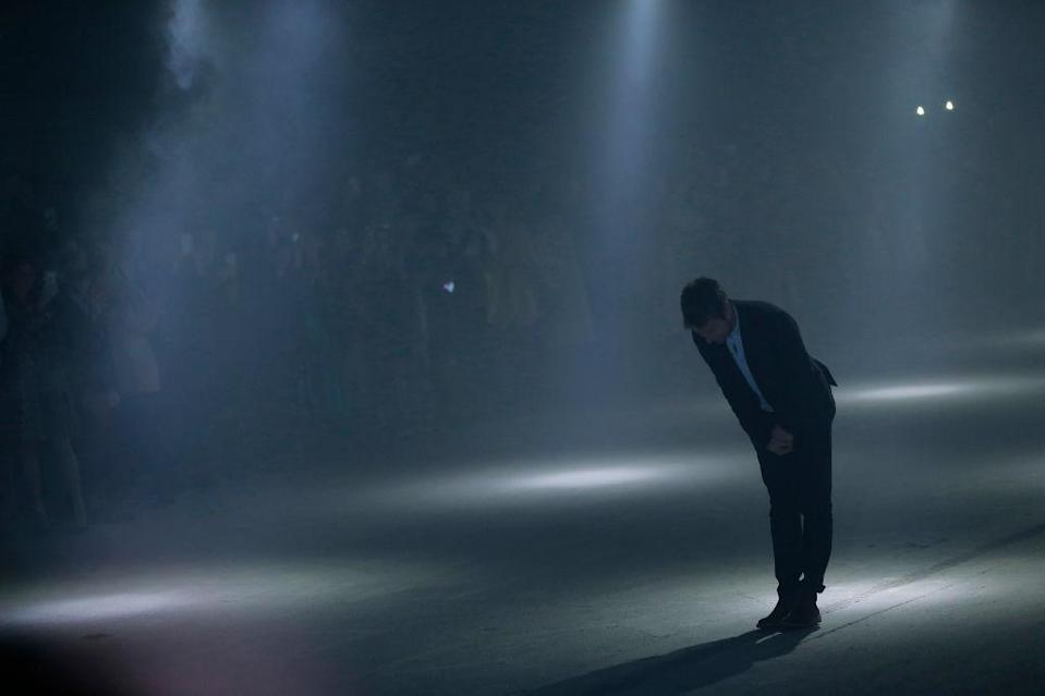 <p>Christopher Bailey gave his final bow following his 17th collection for Brit label, Burberry. The star-studded show saw the likes of Kate Moss and Naomi Campbell sit FROW and models stomped out in an LGBTQ-inspired line. <em>[Photo: Getty]</em> </p>