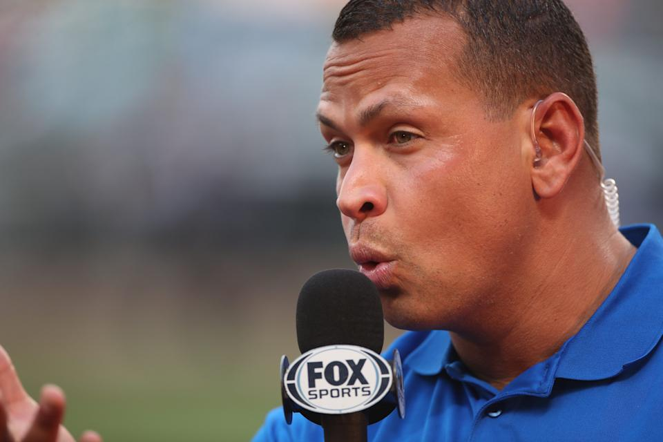 NEW YORK, NEW YORK - May 19: Former New York Yankees star Alex Rodriguez with the Fox Sports team as a Major League Baseball analyst during the Los Angeles Angeles Vs New York Mets regular season MLB game at Citi Field on May 19, 2017 in New York City. (Photo by Tim Clayton/Corbis via Getty Images)