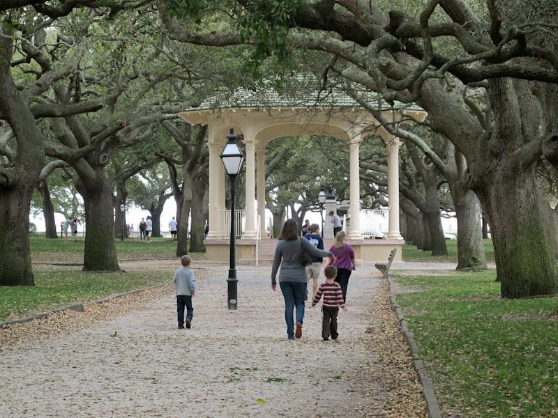 White Point Garden at the Battery in Charleston, S.C. is seen in this photograph taken on March 11, 2013. The garden provides a shady spot to sit or have a picnic after exploring the city's historic district. (AP Photo/Bruce Smith)