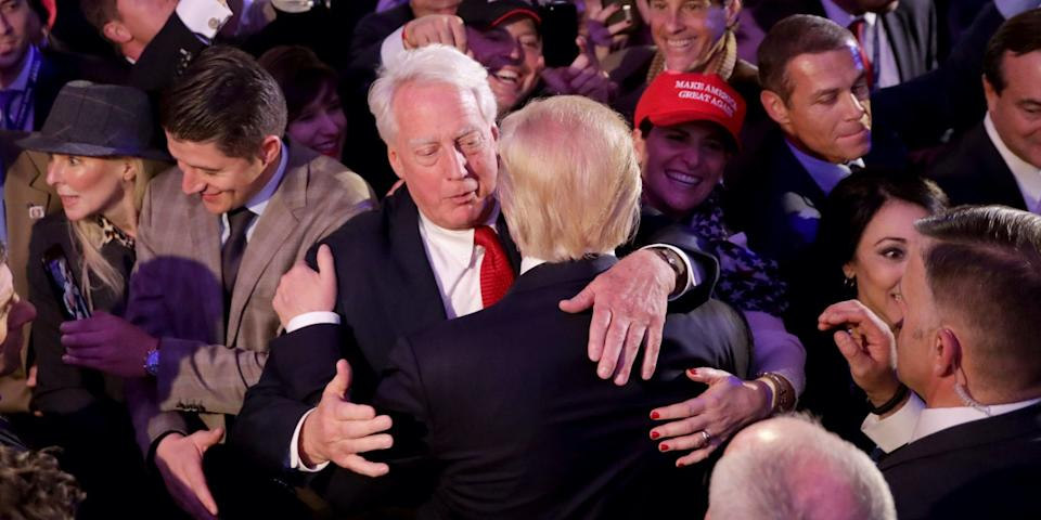 """Donald Trump hugs his brother Robert after winning the presidency in 2016. <p class=""""copyright""""><a href=""""https://www.gettyimages.com/detail/news-photo/republican-president-elect-donald-trump-hugs-his-brother-news-photo/1178441517?adppopup=true"""" rel=""""nofollow noopener"""" target=""""_blank"""" data-ylk=""""slk:Chip Somodevilla/Getty Images"""" class=""""link rapid-noclick-resp"""">Chip Somodevilla/Getty Images</a></p>"""