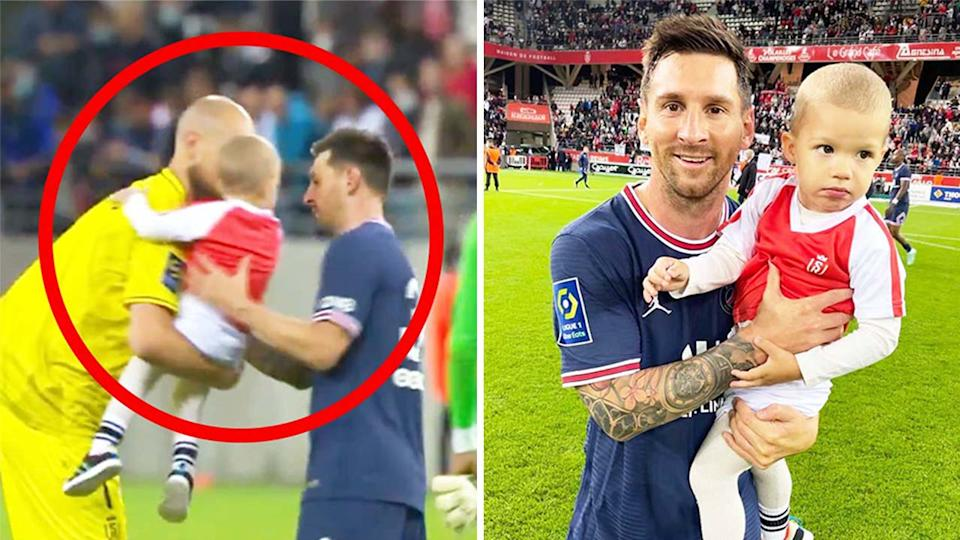 Reims goalkeeper Predrag Rajkovic handing over his son to Lionel Messi (pictured left) and a photo of Messi and his son (pictured right) after the game.