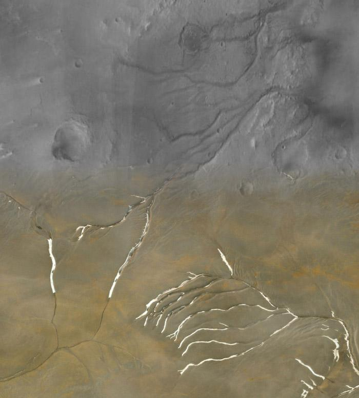 A collage image showing Martian valleys (in grey, at top of image) superimposed with channels on Devon Island (in tan, at bottom) (Anna Grau Galofre/Arizona State University)