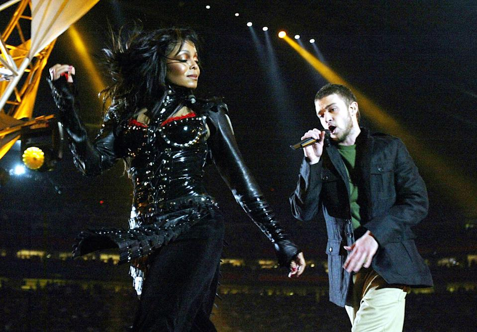 Janet Jackson and Justin Timberlake perform at half-time at Super Bowl XXXVIII at Reliant Stadium, 01 February 2004 in Houston, TX. (JEFF HAYNES/AFP via Getty Images)