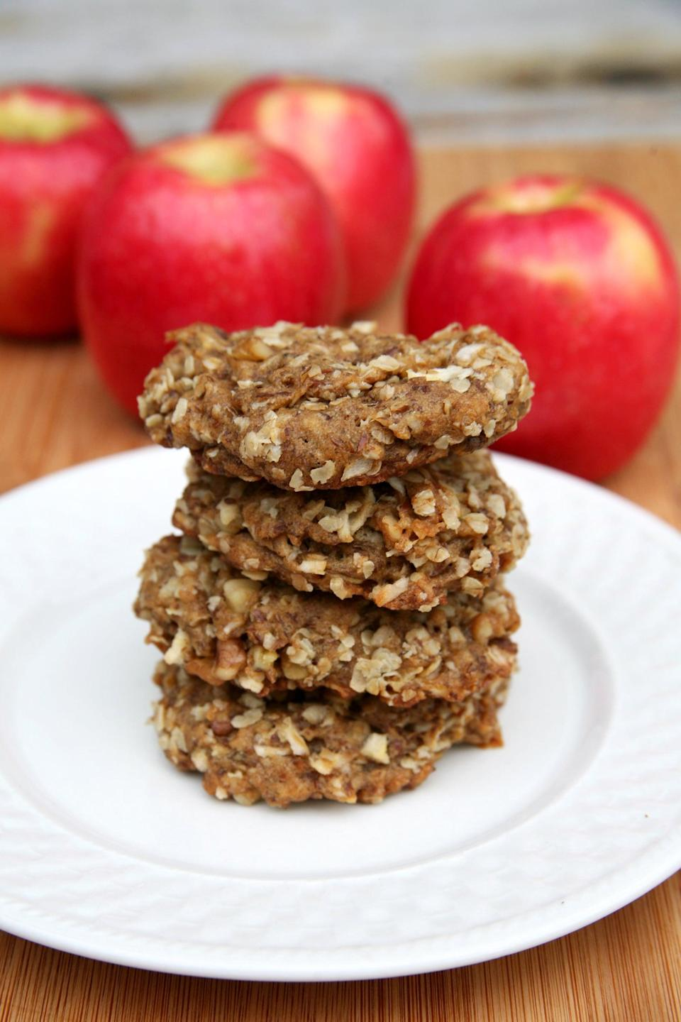 "<p>Apples, oats, and flaxmeal boost the fiber in these sweet cinnamon breakfast cookies.</p> <p><strong>Calories:</strong><br> <strong>Protein:</strong> grams</p> <p><strong>Get the recipe:</strong> <a href=""https://www.popsugar.com/fitness/Healthy-Recipe-Apple-Oatmeal-Flax-Cookies-5324399"" class=""link rapid-noclick-resp"" rel=""nofollow noopener"" target=""_blank"" data-ylk=""slk:apple flax oatmeal cookies"">apple flax oatmeal cookies</a></p>"