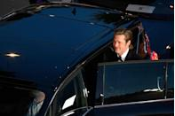 <p>Brad Pitt enters a car as he leaves following the screening of the film Once Upon a Time... in Hollywood at the 72nd edition of the Cannes Film Festival in Cannes, southern France, on May 21, 2019. </p>