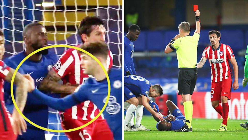 Stefan Savic elbowing Antonio Rudiger (pictured left) and reacting after being handed a red card by the referee (pictured right).