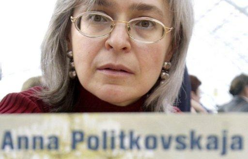 <p>A picture taken March 17, 2005 shows Russian human rights advocate, journalist and author Anna Politkovskaya at a book fair in Germany. A former Russian police officer was to go on trial Wednesday on charges of involvement in her murder on October 7, 2006. Politkovskaya was sharply critical of President Vladimir Putin and his strongman policies in the volatile North Caucasus.</p>
