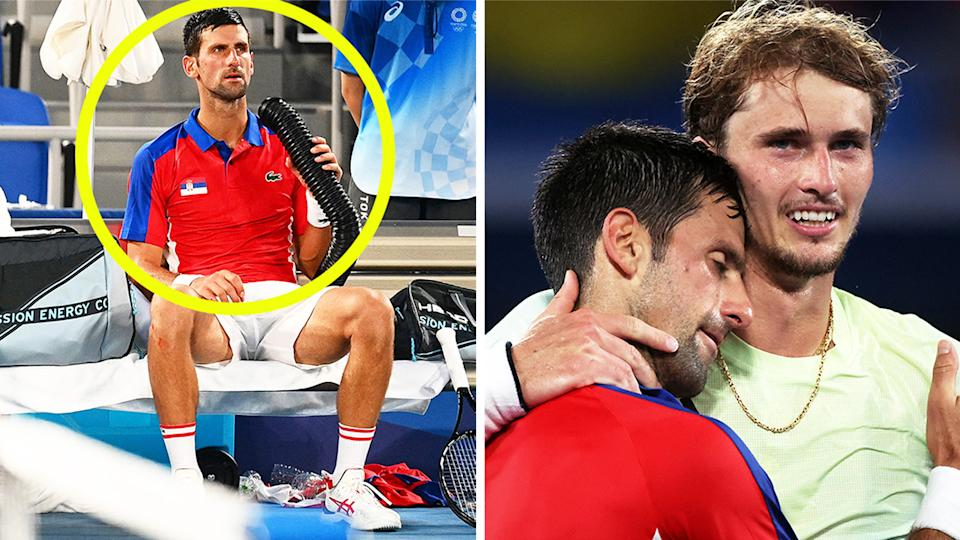 Novak Djokovic (pictured left) using a cold air machine in Tokyo and (pictured right) embracing Alexander Zverev after his Olympics loss.