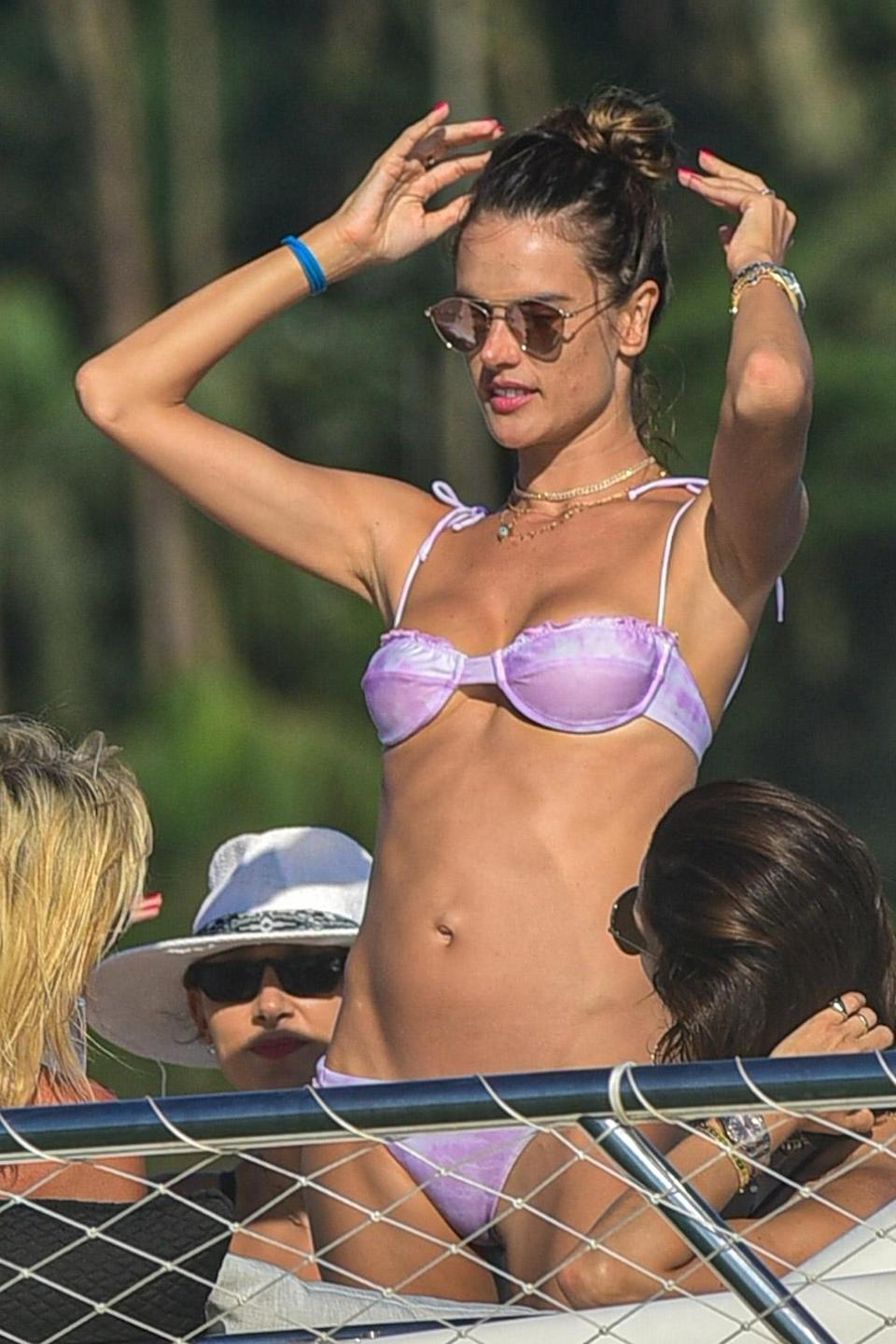 <p>Alessandra Ambrosio starts off 2021 on a yacht with family and friends in Florianópolis, Brazil on Friday. </p>