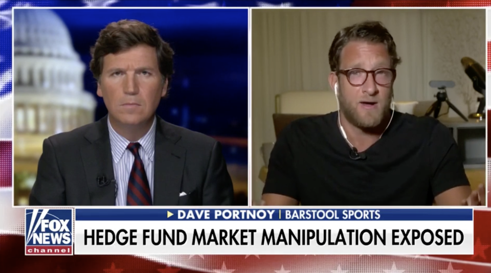 """Fox News airs a lower third that reads """"Hedge Fund Market Manipulation Exposed"""" during a segment on Tucker Carlson Tonight with Barstool's Dave Portnoy. (Screenshot: Fox News)"""