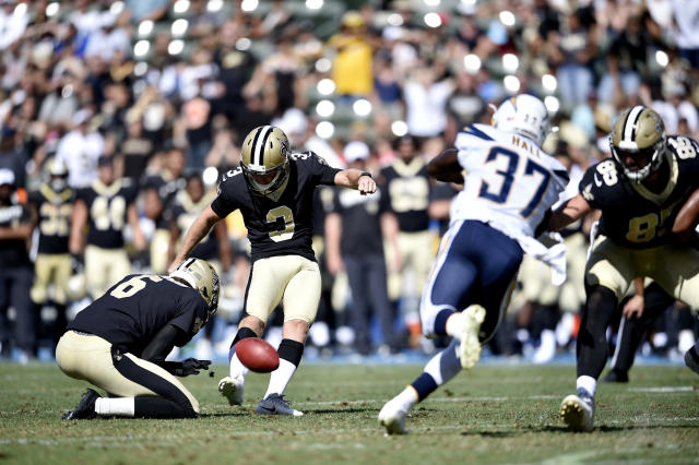 New Orleans Saints kicker Wil Lutz (3) boots a field goal during the fourth quarter of a preseason NFL football game against the Los Angeles Chargers, Sunday, Aug. 18, 2019, in Carson, Calif. (AP Photo/Kelvin Kuo )