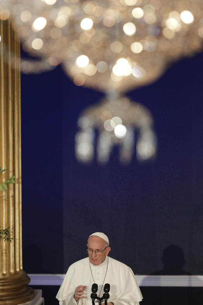 Pope Francis delivers his speech during his meeting with Irish Prime Minister Leo Varadkar, in Dublin, Ireland, Saturday, Aug. 25, 2018. Pope Francis is on a two-day visit to Ireland. (AP Photo/Gregorio Borgia)
