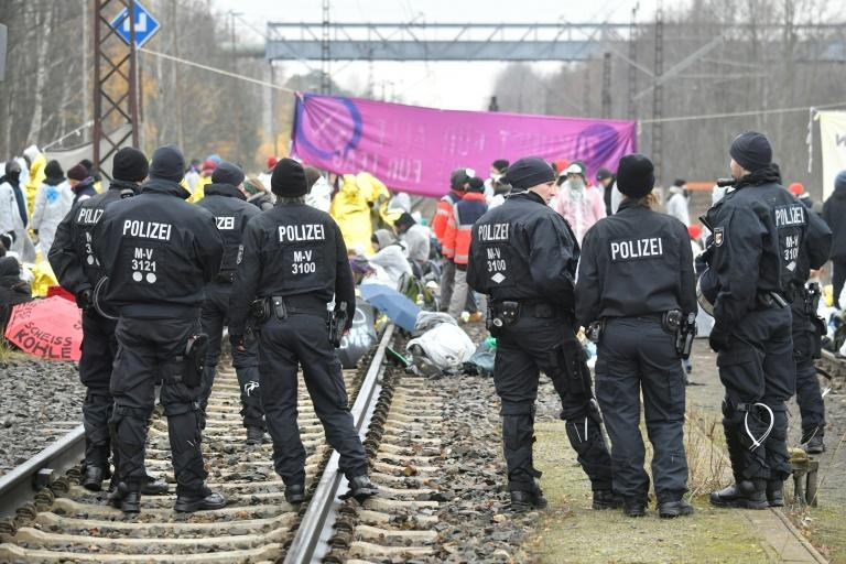 Climate activists from Ende Gelaende blocked train tracks next to Jaenschwalde power plant