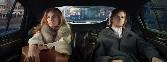"""Michelle Pfeiffer stars as an acerbic Manhattan socialite who becomes insolvent and sets off for Paris with her cat (voiced by Tracy Letts) and son (Lucas Hedges) in """"French Exit."""""""
