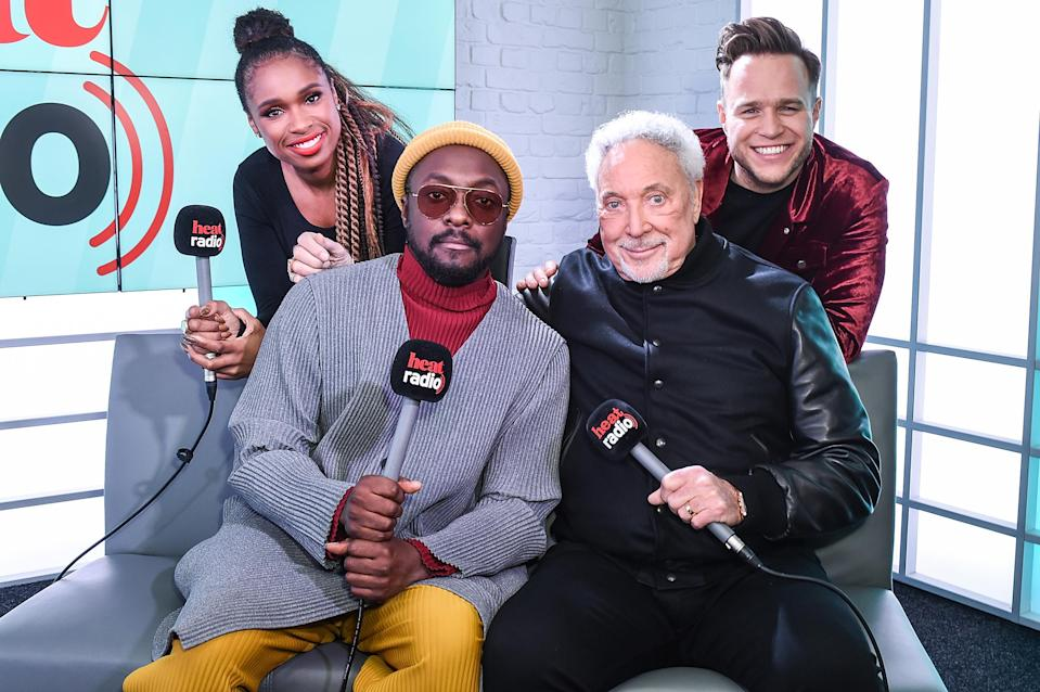 Jennifer Hudson, Wil.i.am, Sir Tom Jones and Olly Murs from The Voice UK visit Heat Breakfast on January 4, 2019 in London, United Kingdom. (Photo by Tabatha Fireman/Getty Images)