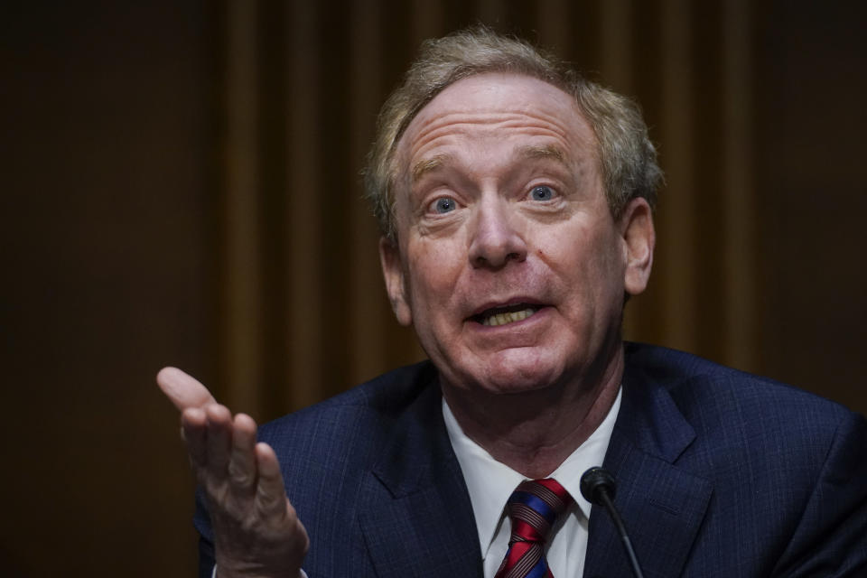 WASHINGTON, DC - FEBRUARY 23: Microsoft President Brad Smith testifies during a Senate Intelligence Committee hearing on Capitol Hill on February 23, 2021 in Washington, DC. The hearing focused on the 2020 cyberattack that resulted in a series of data breaches within several agencies and departments in the U.S. federal government. (Photo by Drew Angerer/Getty Images)