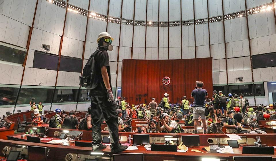 Protesters stormed the Legislative Council Chamber on July 1 last year. Photo: Sam Tsang