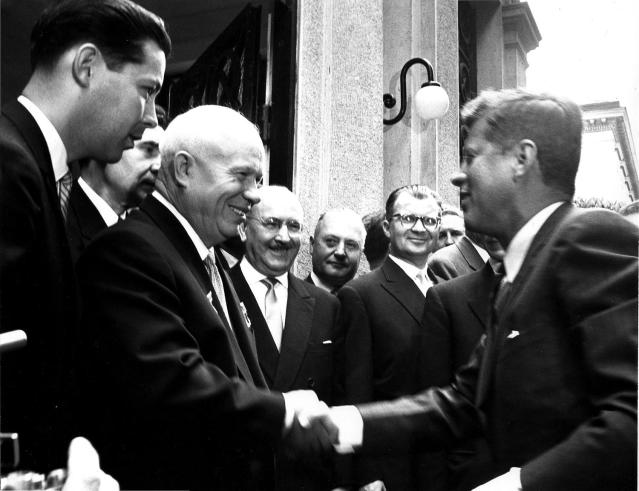 <p>Soviet Chairman Nikita Khrushchev greets U.S. President John F. Kennedy as he enters the Soviet Embassy in Vienna, Austria, June 1961. (Photo: John F. Kennedy Presidential Library and Museum) </p>