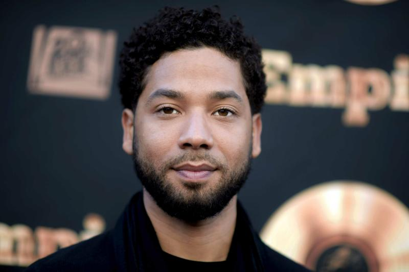 "FILE - In this May 20, 2016 file photo, actor and singer Jussie Smollett attends the ""Empire"" FYC Event in Los Angeles. Chicago police say they're interviewing two ""persons of interest"" who surveillance photos show were in the downtown area where Smollett says he was attacked last month. A police spokesman said Thursday the two men aren't considered suspects but may have been in the area at the time Smollett says he was attacked. Smollett says two masked men shouted racial and homophobic slurs before beating him and putting a rope around his neck on Jan. 29. (Richard Shotwell/Invision/AP, File)"