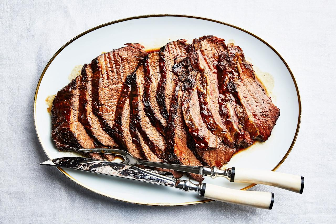 "This brisket, flavored with Manischewitz or Concord grape juice, is made using the tender, richly marbled point cut. <a href=""https://www.epicurious.com/recipes/food/views/mamalehs-brisket?mbid=synd_yahoo_rss"">See recipe.</a>"