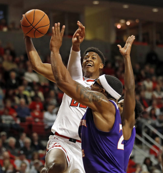 Texas Tech's Jarrett Culver (23) shoots the ball over Northwestern State's Ishmael Lane (20) during the first half of an NCAA college basketball game, Wednesday, Dec. 12, 2018, in Lubbock, Texas. (AP Photo/Brad Tollefson)